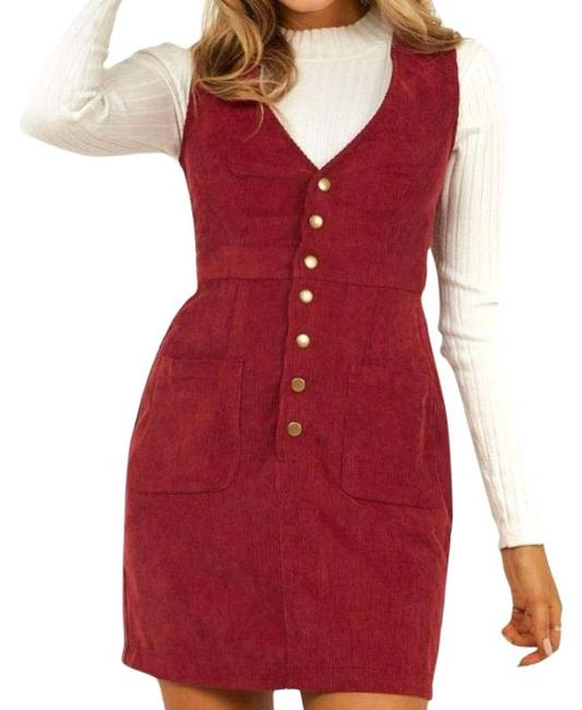 Item - Red Red/Burgundy Corduroy Button Down Short Casual Dress Size 14 (L)