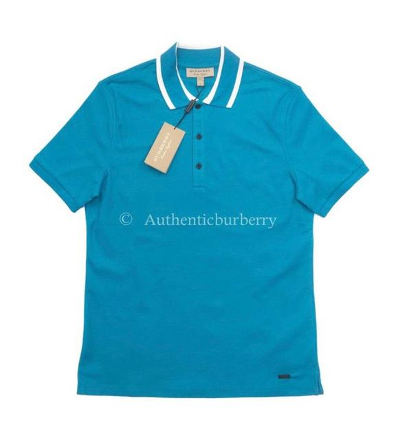 Burberry Bright Turquoise Men's Striped Collar Cotton Polo Tee Shirt Size 8 (M) Burberry Bright Turquoise Men's Striped Collar Cotton Polo Tee Shirt Size 8 (M) Image 1