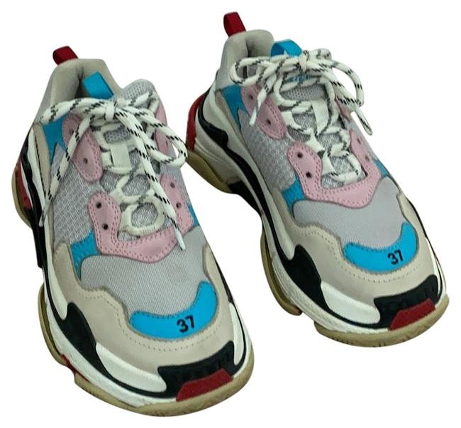 Item - Pink Blue White Red Black Triple S Logo Sneakers Size EU 37 (Approx. US 7) Regular (M, B)