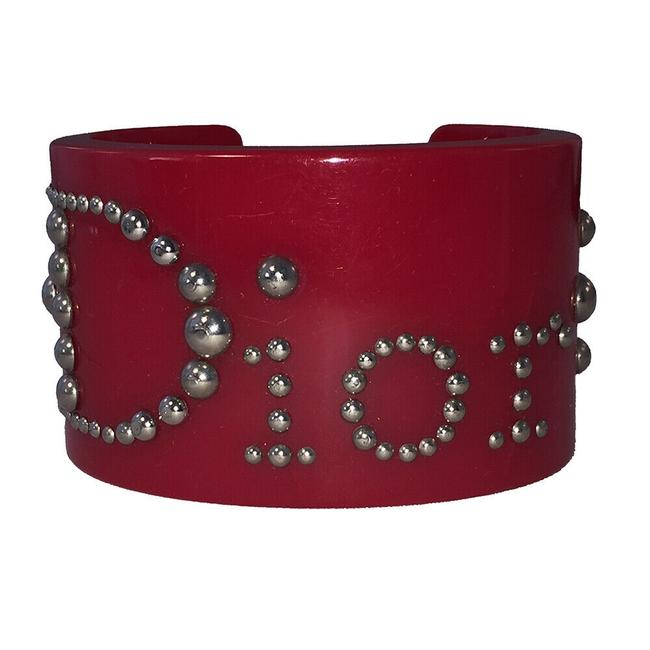 Item - Red Plastic with Silver Round Studs Cuff Bracelet