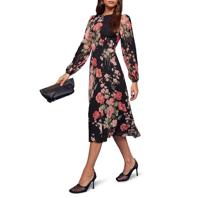 Item - Black Luanne Floral Keyhole Mid-length Night Out Dress Size 2 (XS)