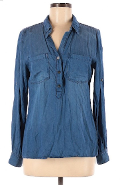 Item - Chambray - Blue Popover Half-button Shirt Patch Pockets Button-down Top Size 14 (L)