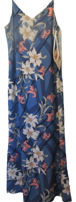 Preload https://item1.tradesy.com/images/caribbean-joe-blue-with-print-spice-islands-ribbon-lillies-long-casual-maxi-dress-size-petite-4-s-2796310-0-0.jpg?width=400&height=650