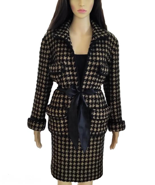 Item - Black Tan Vintage 1990's Fantasy Tweed Jacket Skirt Suit Size 8 (M)