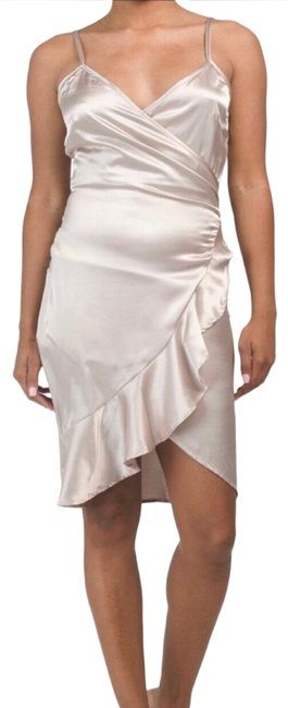 Item - Champagne Satin Wrap Ruffle Short Night Out Dress Size Petite 6 (S)