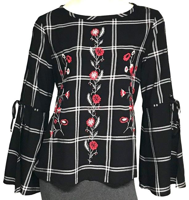 Item - Black Embroidered Blouse Size 8 (M)