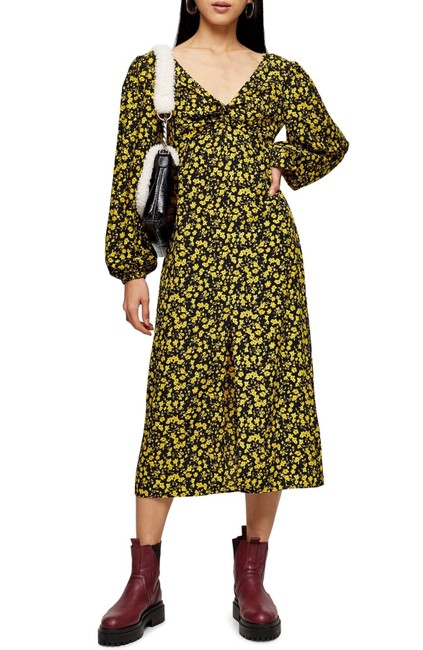 Topshop Twist Floral Godet Front Long Sleeve Midi Mid-length Casual Maxi Dress Size 2 (XS) Topshop Twist Floral Godet Front Long Sleeve Midi Mid-length Casual Maxi Dress Size 2 (XS) Image 1