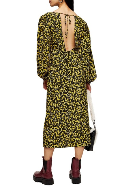 Topshop Twist Floral Godet Front Long Sleeve Midi Mid-length Casual Maxi Dress Size 2 (XS) Topshop Twist Floral Godet Front Long Sleeve Midi Mid-length Casual Maxi Dress Size 2 (XS) Image 2