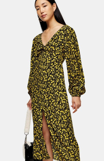 Topshop Twist Floral Godet Front Long Sleeve Midi Mid-length Casual Maxi Dress Size 2 (XS) Topshop Twist Floral Godet Front Long Sleeve Midi Mid-length Casual Maxi Dress Size 2 (XS) Image 3