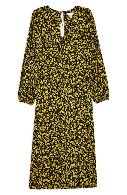 Topshop Twist Floral Godet Front Long Sleeve Midi Mid-length Casual Maxi Dress Size 2 (XS) Topshop Twist Floral Godet Front Long Sleeve Midi Mid-length Casual Maxi Dress Size 2 (XS) Image 4