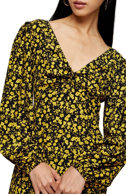 Topshop Twist Floral Godet Front Long Sleeve Midi Mid-length Casual Maxi Dress Size 2 (XS) Topshop Twist Floral Godet Front Long Sleeve Midi Mid-length Casual Maxi Dress Size 2 (XS) Image 5
