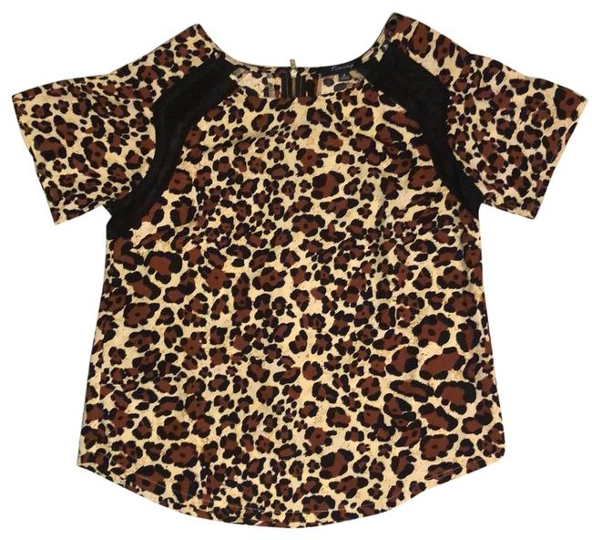 Item - Brown Black and Beige Leopard Print Blouse Size 4 (S)