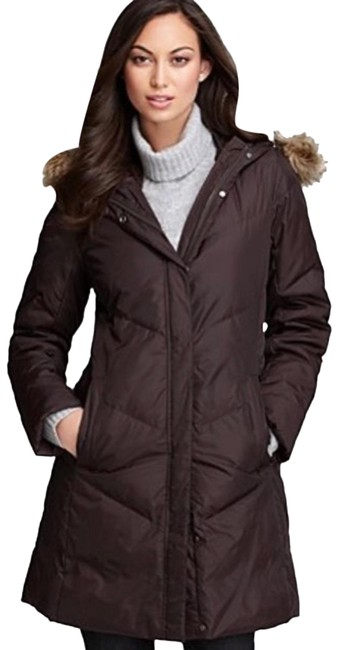 Item - Brown Weather Resistant Puffer Quilted Parka Down Anorak with Faux Fur Trim Coat Size 2 (XS)
