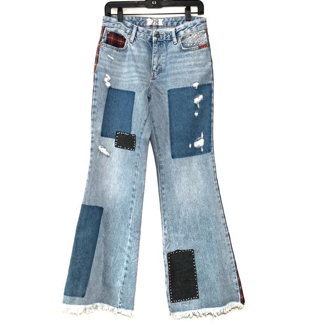 Free People Denim Distressed Plaid Mixed Slim Flare Trouser/Wide Leg Jeans Size 28 (4, S) Free People Denim Distressed Plaid Mixed Slim Flare Trouser/Wide Leg Jeans Size 28 (4, S) Image 2