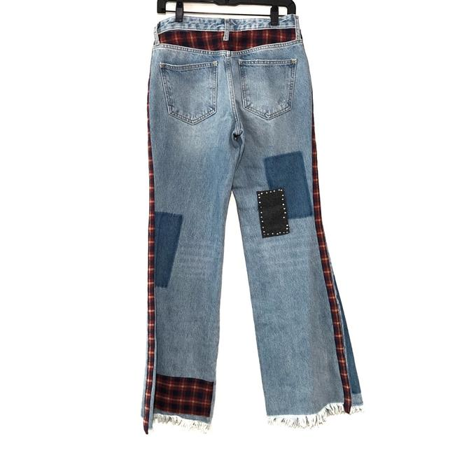 Free People Denim Distressed Plaid Mixed Slim Flare Trouser/Wide Leg Jeans Size 28 (4, S) Free People Denim Distressed Plaid Mixed Slim Flare Trouser/Wide Leg Jeans Size 28 (4, S) Image 3