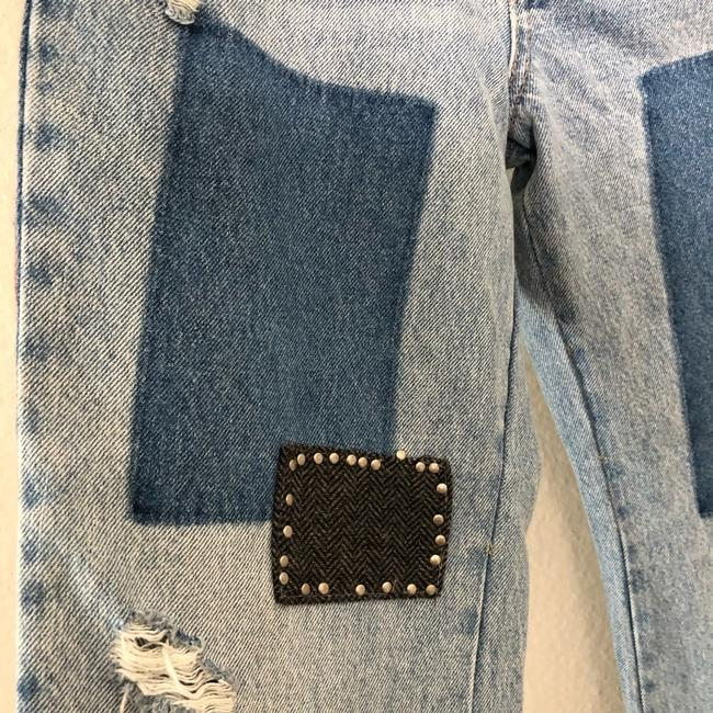 Free People Denim Distressed Plaid Mixed Slim Flare Trouser/Wide Leg Jeans Size 28 (4, S) Free People Denim Distressed Plaid Mixed Slim Flare Trouser/Wide Leg Jeans Size 28 (4, S) Image 6