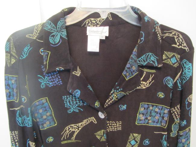 Coldwater Creek Top black with print