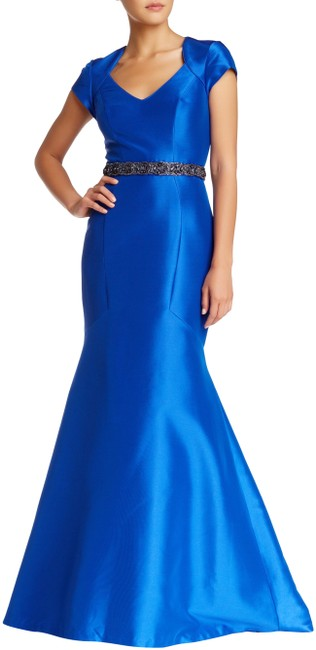Item - Royal Blue Empire Embellished Cutout Mermaid Gown Long Formal Dress Size 10 (M)