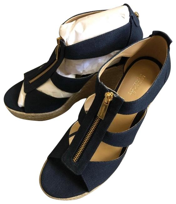 Item - Navy Blue Denim Canvas Wedges Size US 8 Regular (M, B)