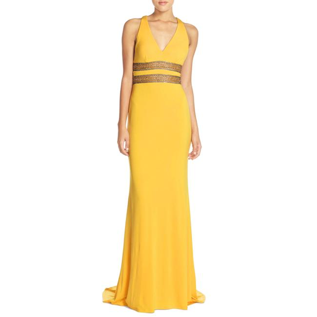 Item - Yellow Embellished Cutout Gown Long Formal Dress Size 12 (L)
