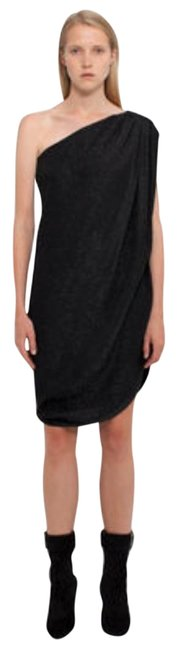 Item - Black Metallic One Shoulder Short Night Out Dress Size 4 (S)