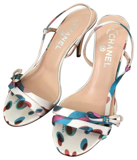 Item - Multi Color On White Background Chic with Elegant Print Sandals Size EU 37.5 (Approx. US 7.5) Regular (M, B)