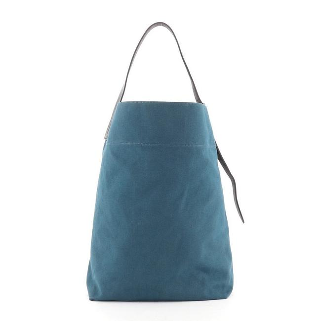 Item - Etriviere Toile and Leather Blue Canvas Shoulder Bag