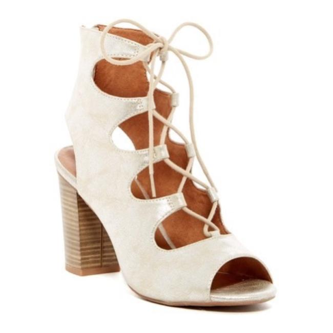 Item - Silver Cream Metallic Lace Up Peep Toe Ankle Boots/Booties Size US 10 Regular (M, B)
