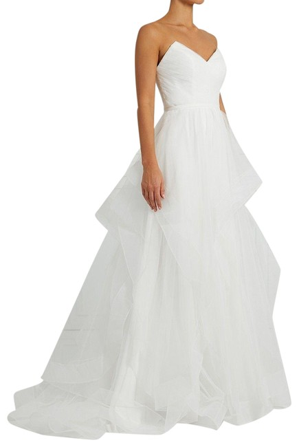 Item - White Ruffle Tulle Ball Gown Long Formal Dress Size 16 (XL, Plus 0x)