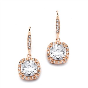 Rose Gold Cushion Cut Cz Bridal Or Maids Earrings
