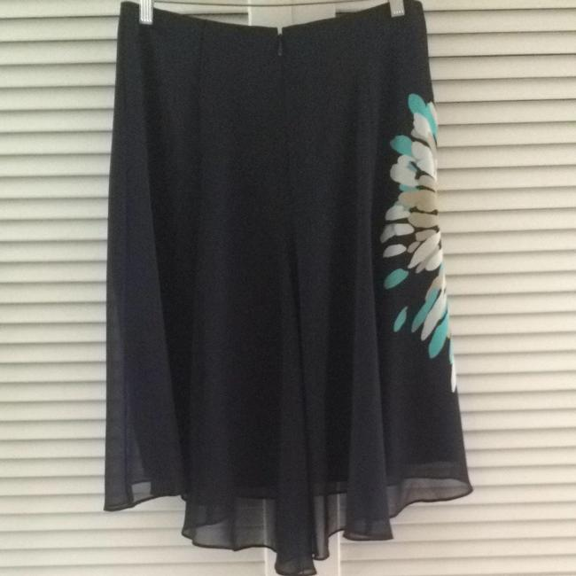 Ann Taylor Skirt Navy Blue With Yellow Flower