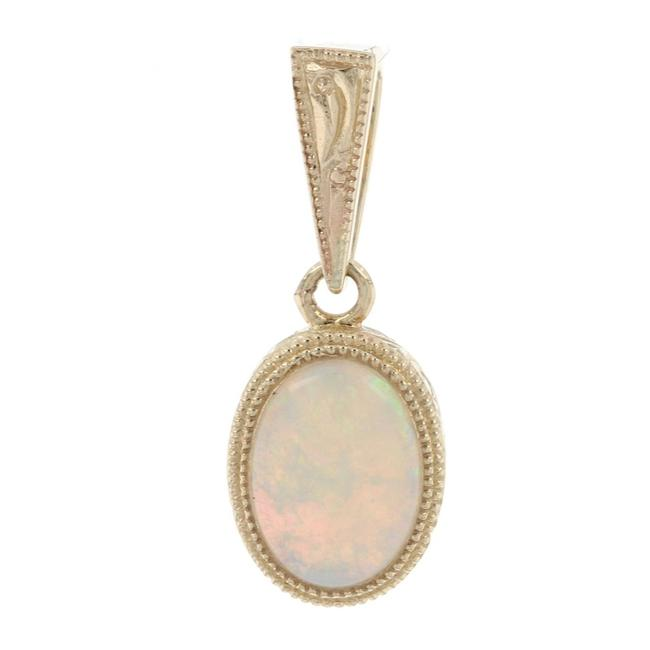 Item - Yellow Gold Opal Solitaire Pendant - 14k Oval Cabochon Cut .61ct