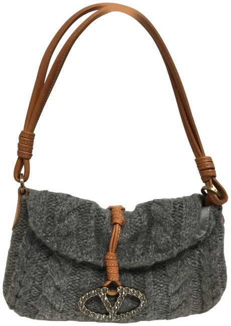 Item - Cable Knit Fold Over Gray Wool Baguette