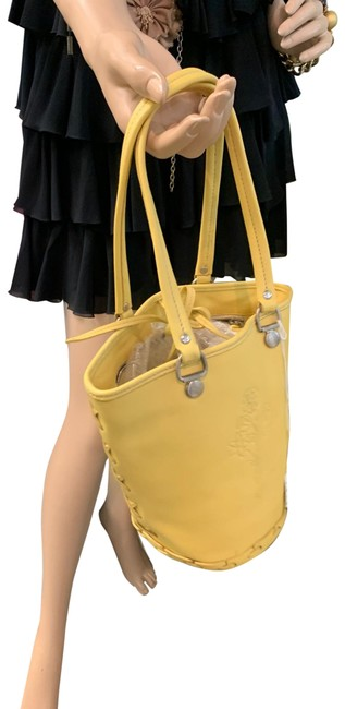 Item - Bucket Bag Small Tooled Flowers Whip Stitc Yellow Leather Tote