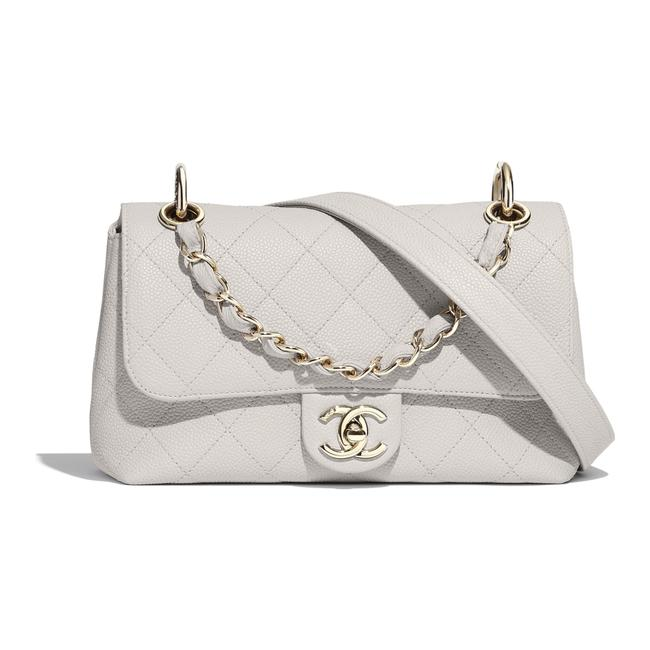 Chanel Classic Flap New 20p Grained Calfskin White Ghw Leather Cross Body Bag Chanel Classic Flap New 20p Grained Calfskin White Ghw Leather Cross Body Bag Image 1