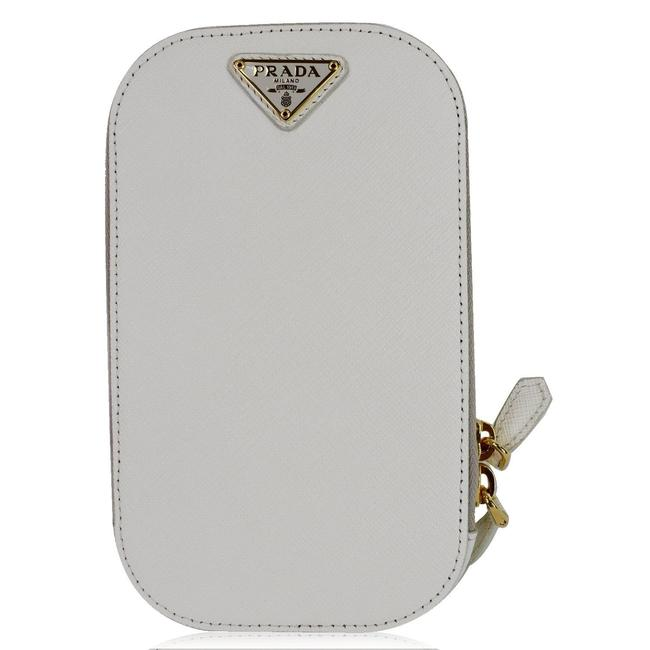 Prada White Crossbody Saffiano Triangle Leather Phone Pouch Bag Tech Accessory Prada White Crossbody Saffiano Triangle Leather Phone Pouch Bag Tech Accessory Image 1