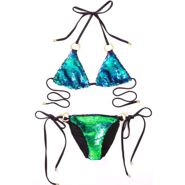 Item - Blue Green Ombré Black Siren's Song Sexy Triangle Tie 2pc Bikini Set Size 8 (M)
