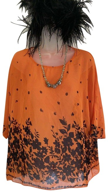 Item - Orange/ Black Women's Small Bright with Flowers and Leav Blouse Size 4 (S)