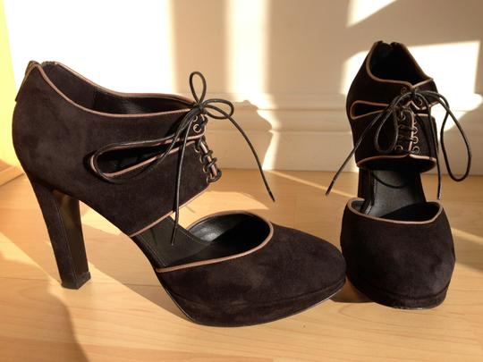 J.Crew Suede Italian Lace-up Zipper Black Pumps