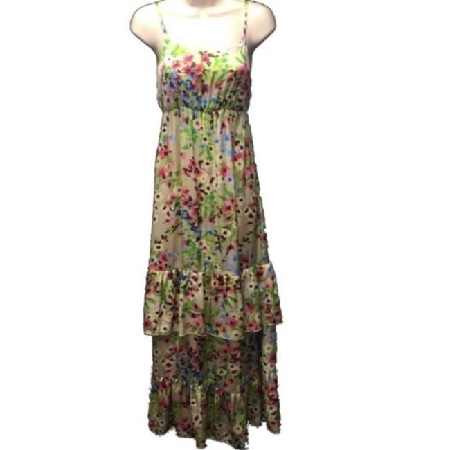 Old Navy Tan Green XS Tiered Floral Print Long Casual Maxi Dress Size 0 (XS) Old Navy Tan Green XS Tiered Floral Print Long Casual Maxi Dress Size 0 (XS) Image 1