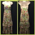 Old Navy Tan Green XS Tiered Floral Print Long Casual Maxi Dress Size 0 (XS) Old Navy Tan Green XS Tiered Floral Print Long Casual Maxi Dress Size 0 (XS) Image 2