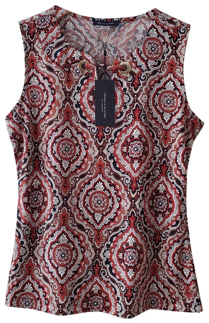 Item - Red Brown Grommet Sleeveless Blouse Size 4 (S)