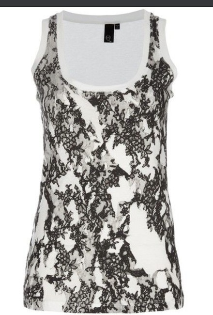 Item - Black White Lace Embroidery Floral Tank Top/Cami Size 2 (XS)