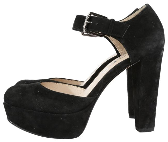 Item - Black Suede Ankle Strap Heels Round Toe Platform Sandals Size US 5.5 Regular (M, B)