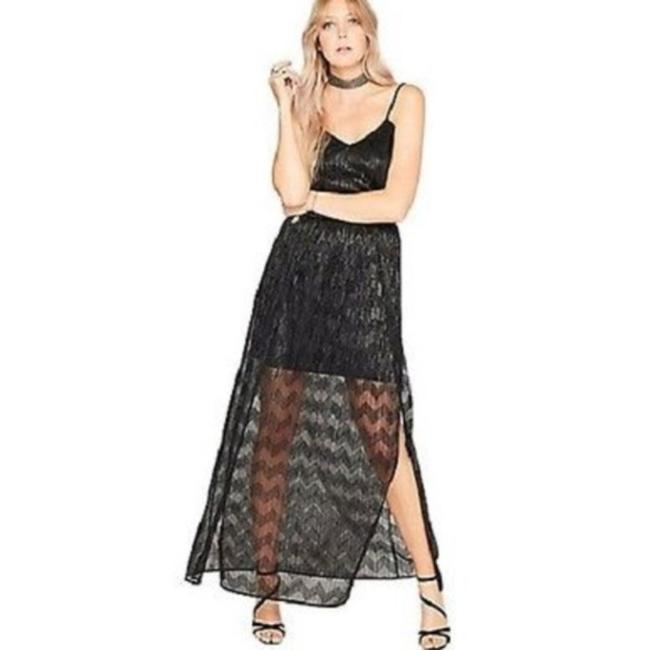 Item - Black Strappy Shimmer Long Night Out Dress Size 4 (S)