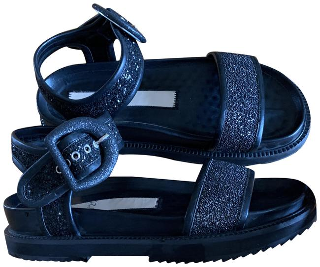 Item - Black No 21 Leather Glitter Buckle Dad Style Sandals Size EU 36 (Approx. US 6) Regular (M, B)
