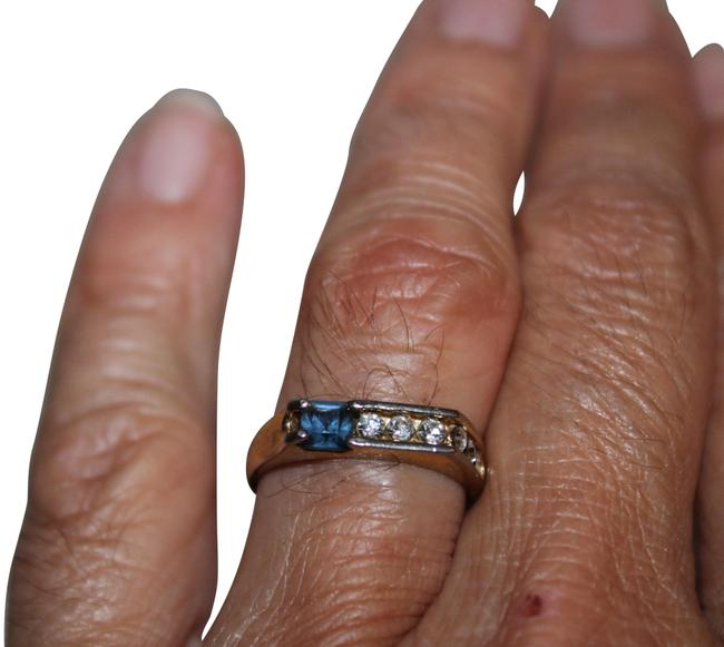 Unbranded Gold Clear Navy Pretty Classy Tone with Rhinestones Ring Unbranded Gold Clear Navy Pretty Classy Tone with Rhinestones Ring Image 1