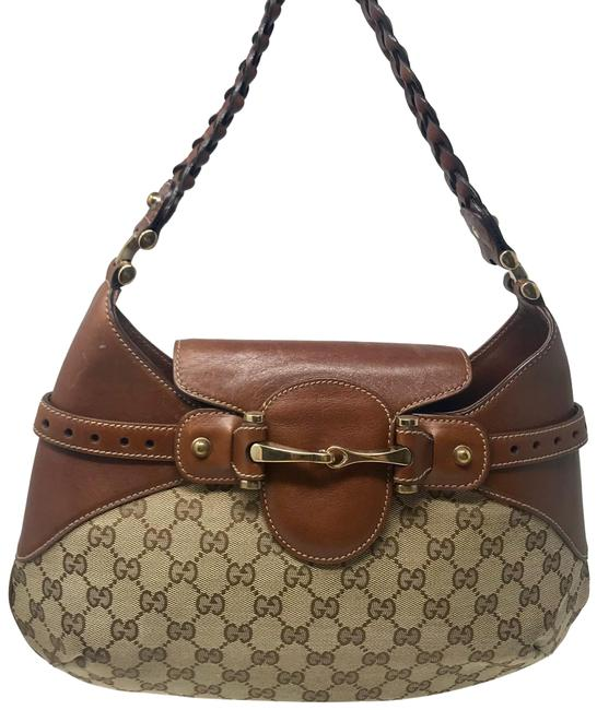 Gucci Shoulder Horsebit Gg Brown Canvas & Leather Hobo Bag Gucci Shoulder Horsebit Gg Brown Canvas & Leather Hobo Bag Image 1