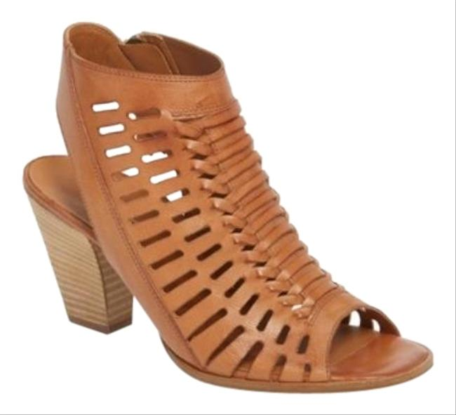 Paul Green Tan Rosa Woven Leather Peep Boots/Booties Size US 8 Regular (M, B) Paul Green Tan Rosa Woven Leather Peep Boots/Booties Size US 8 Regular (M, B) Image 1