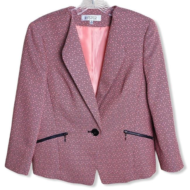 Preload https://img-static.tradesy.com/item/27969844/kasper-black-coral-pink-and-1-button-zipper-pockets-blazer-size-8-m-0-0-650-650.jpg